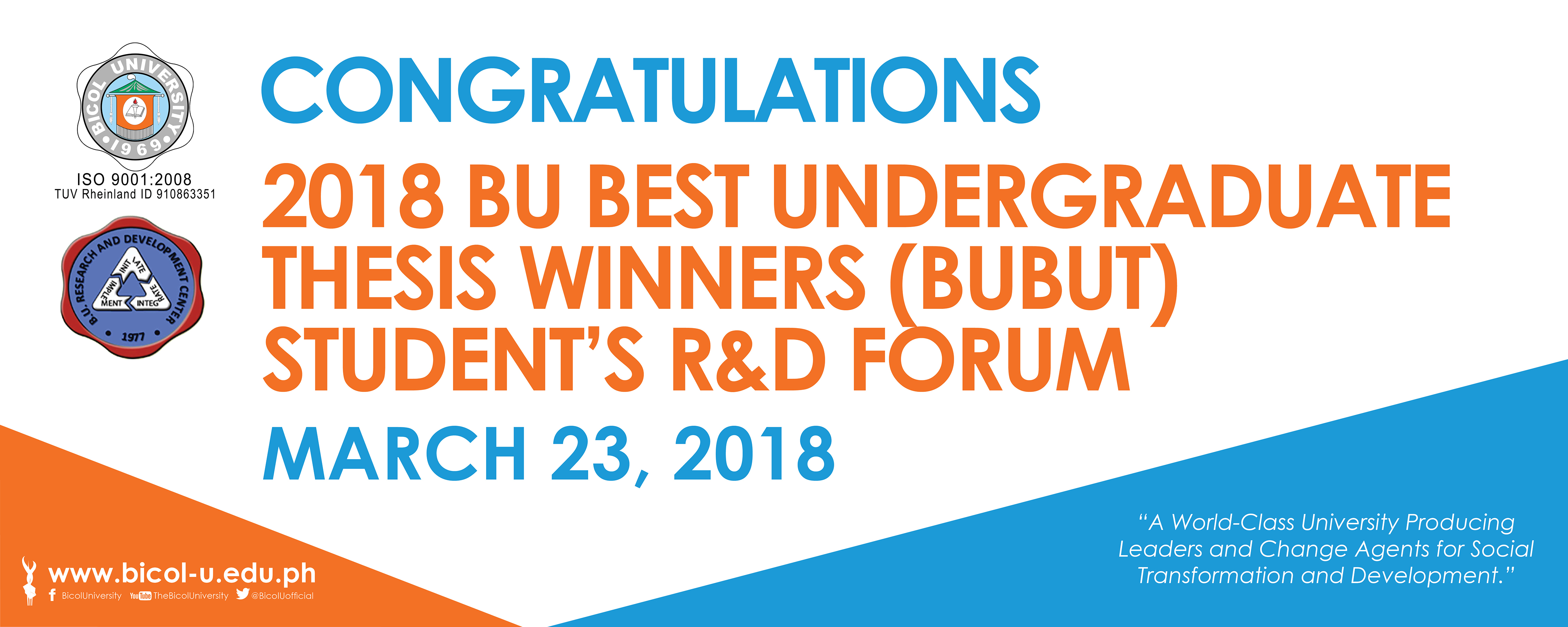 Winners of the 2018 BU Best Undergraduate Thesis (BUBUT